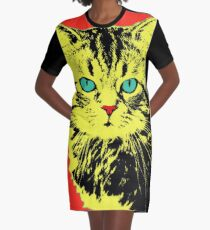 POP ART CAT - YELLOW RED Graphic T-Shirt Dress