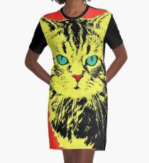 POP ART CAT - YELLOW RED Graphic T-Shirt Dress