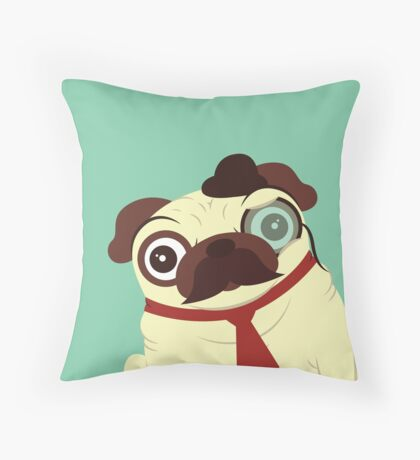 Pug in a Hat Throw Pillow