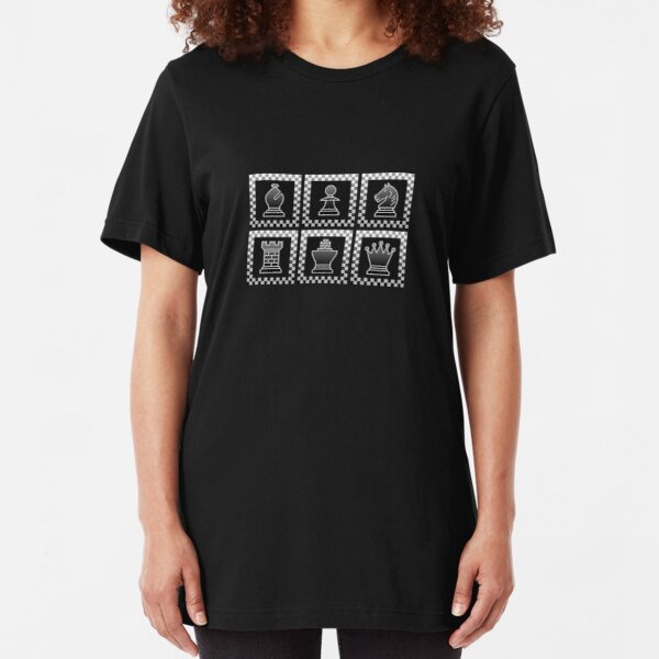 Chess - Black borders block Slim Fit T-Shirt