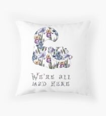 Alice floral designs - Cheshire cat all mad here Throw Pillow