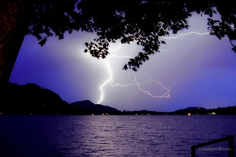 Lightning Over The Lake by crashandburn