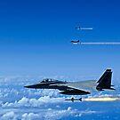 F-15 Eagle Flugzeug Feuer AIM-7 Sparrow-Raketen. von StocktrekImages