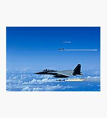 F-15 Eagle aircraft fire AIM-7 Sparrow missiles. Photographic Print