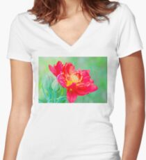 Unusual macro tulip over green background Women's Fitted V-Neck T-Shirt