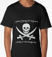 a glass of grog for every man and a bottle for the shanty man (black) Long T-Shirt