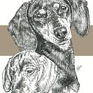 Dachshund, smooth coat, Father & Son by BarbBarcikKeith