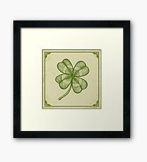 Vintage lucky clover Framed Print