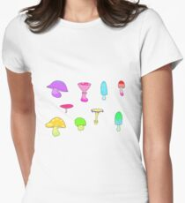 mushrooms (multi coloured)  Womens Fitted T-Shirt