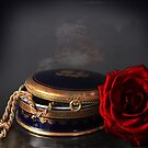 still life, red rose and enamel box by gameover