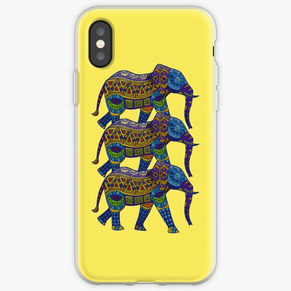 Drei bunte Mosaik-Elefanten iPhone-Hülle & Cover