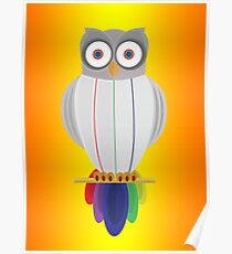 Rainbow Owl (Orange Yellow) Poster