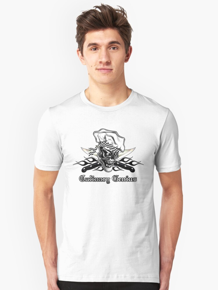 Chef Skull 5: Culinary Genius 3 black flames Unisex T-Shirt Front