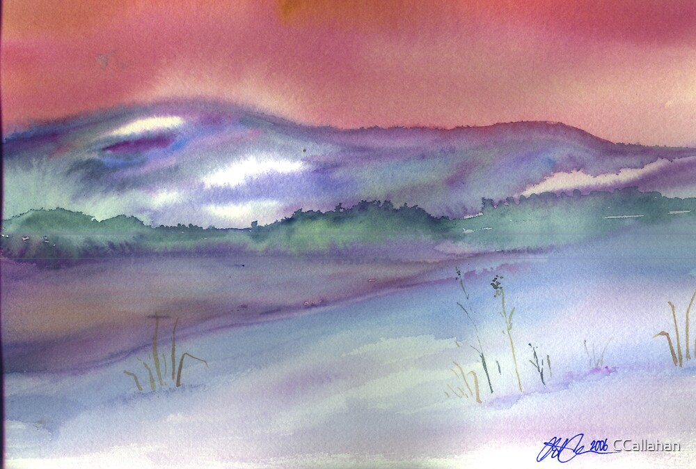 Winter Scene Upstate NY Watercolor by CCallahan