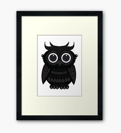 Black Owl - White Framed Print