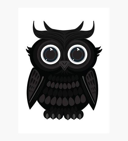Black Owl - White Photographic Print