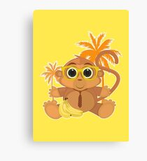 Monkey Nerd - Yellow Canvas Print