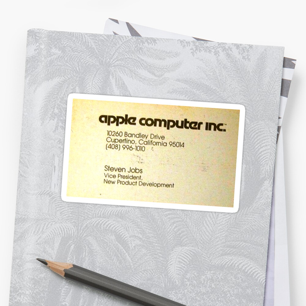 Vintage Steve Jobs Apple Business Card Stickers By Call Me Creed