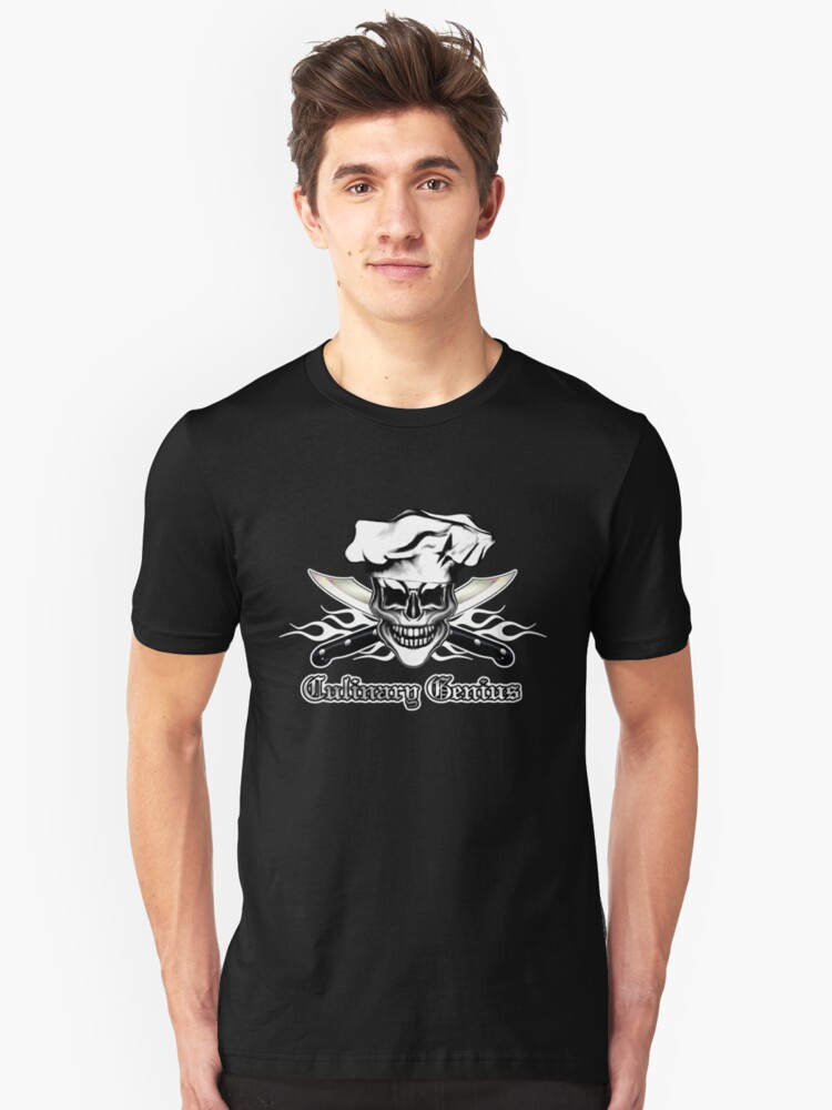 Chef Skull 6: Culinary Genius 3 white flames Unisex T-Shirt Front