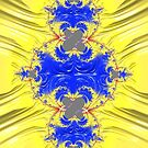 Yellow And Blue Abstract by Steve Purnell
