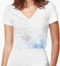 Tokyo subway metro map Women's Fitted V-Neck T-Shirt