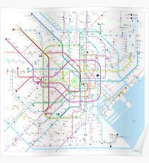 Tokyo subway metro map Poster