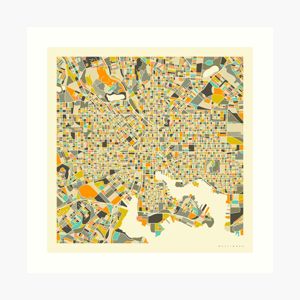 BALTIMORE MAP Art Print