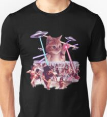 Funny & Cute Cat invader from space Beach Attack UFO & lasers Galaxy Universe Unisex T-Shirt