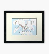 Hong Kong city subway metro map Framed Print