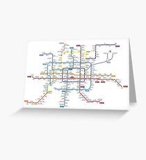 Beijing city subway metro map Greeting Card