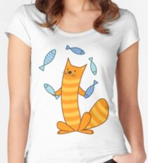 Cat juggling fish Women's Fitted Scoop T-Shirt