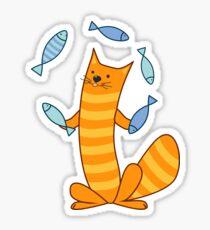Cat juggling fish Sticker