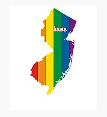 New Jersey Map Rainbow Pride Gifts Photographic Print