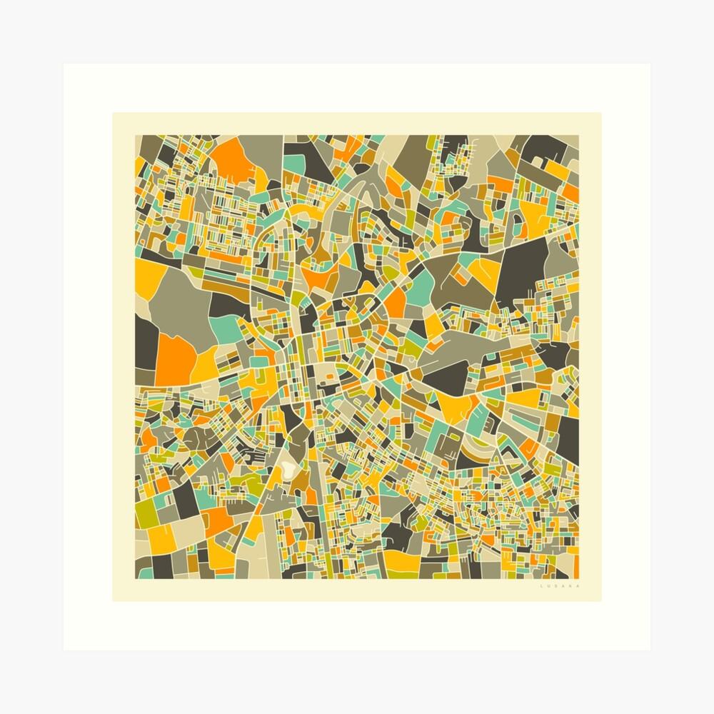 LUSAKA MAP Art Print