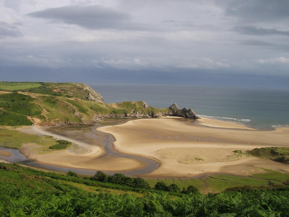 Three Cliffs Bay, The Gower, Low Tide by elmar rubio