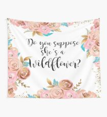 Blush pink and gold wildflower Wall Tapestry