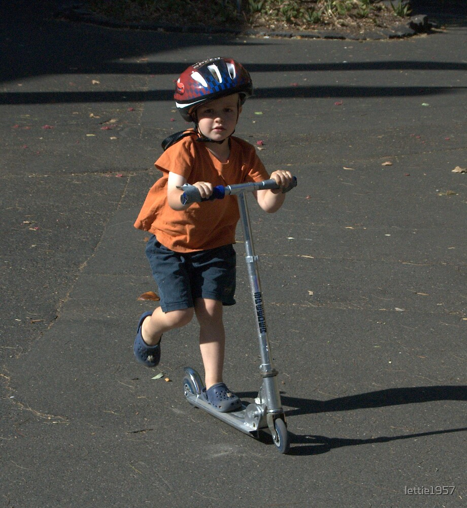 Little boy on scooter  by lettie1957