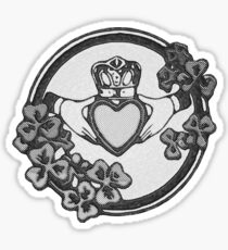 Vintage Black and White Claddagh Sticker