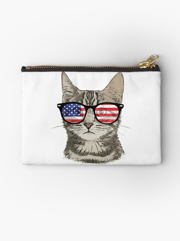 54a24ae926a8 USA America Cat Kitten Flag Patriotic Hipster Sunglasses