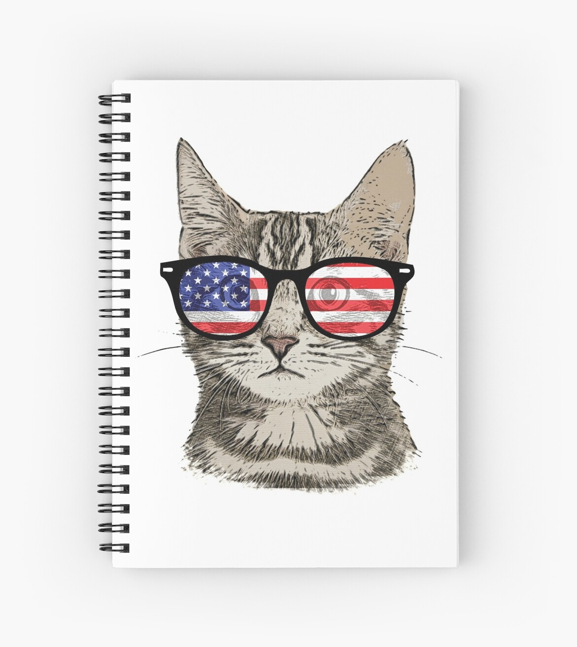 17ecdbcfbae1 USA America Cat Kitten Flag Patriotic Hipster Sunglasses by TrendyTees12