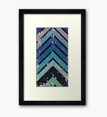Aged Chevron Cool Blue Framed Print