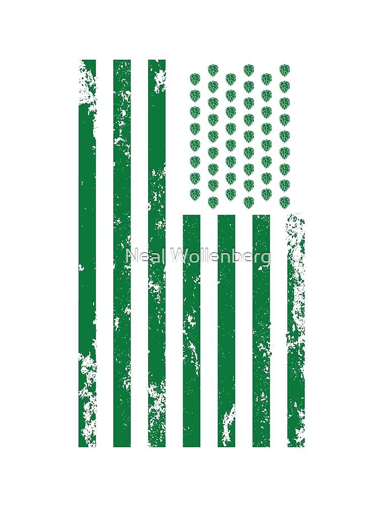 Hops U.S. Flag in green by Neal Wollenberg