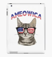 Ameowica USA Cat Kitten Patriotic Hipster Sunglasses Funny Design iPad Case/Skin