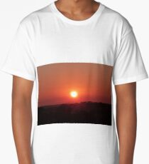 A Large Red Ball comes over the Hill! Sunrise Mt. Pleasant!  Long T-Shirt
