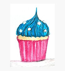 Blue cupcake watercolour  Photographic Print