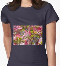 blooming magnolia flowers in spring Women's Fitted T-Shirt