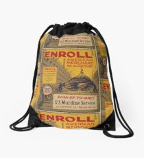WPA United States Government Work Project Administration Poster 0740 Enroll American Merchant Marine Maritime Service Drawstring Bag