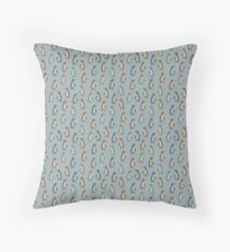 Penguins in teal Throw Pillow
