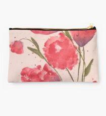 Pink Floral Artwork Studio Pouch
