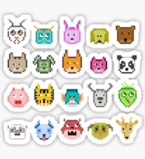 Cute animals made of Pixels .Pattern Sticker